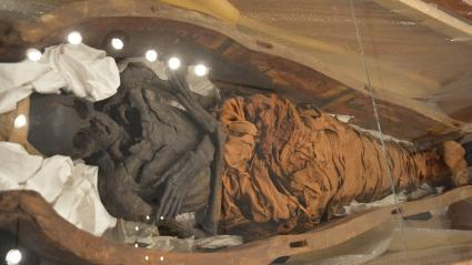 Une momie égyptienne présentée au muséePecherskaya Lavra de Jiev (Ukraine), le 18 mai 2017.