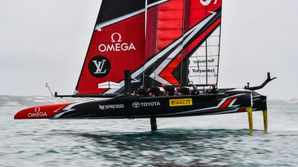 """Emirates Team New Zealand\"" lors de la 4e édition de la Coupe Louis-Vuitton, en juillet 2017."