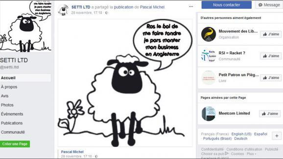 Capture d'écran de la page Facebook du cabinet Setti.