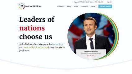 Capture d\'écran de la page d\'accueil du site NationBuilder.com