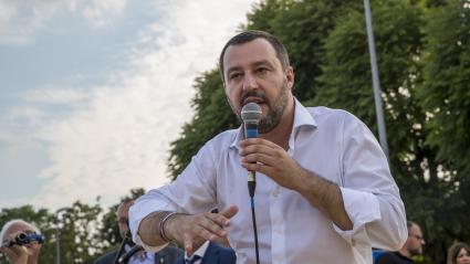 Matteo Salvini, ministre de l\'Intérieur italien, lors d\'une prise de parole à Turin (Italie), le 15 juin.