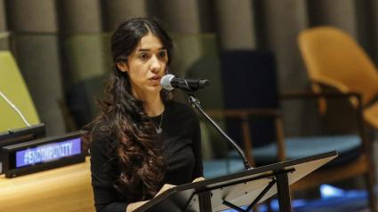 L\'activiste yézidie Nadia Murad à la tribune des Nations unies à New York, le 9 mars 2017.