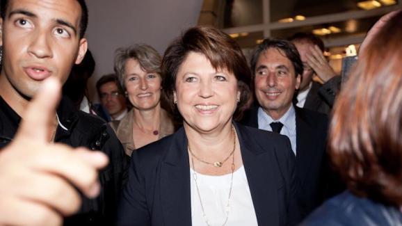 Alexandre Benalla, lors d\'un déplacement de Martine Aubry.
