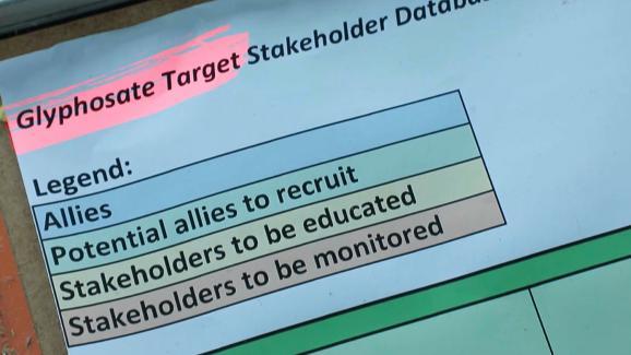 """Un fichier appelé \""""Glyphosate target\"""" liste 74 cibles prioritaires divisées en quatre groupes en fonction de leur soutien à Monsanto. (capture d\'écran)"""