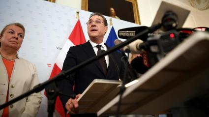 Le vice-chancelier et président du Parti de la liberté, Heinz-Christian Strache, annonce sa démission lors d\'une conférence de presse, le 18 mai 2019 à Vienne.