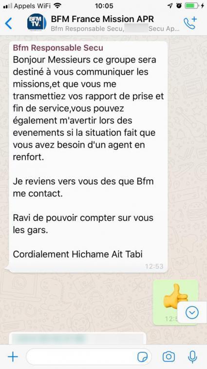 Capture d\'écran d\'une conversation sur WhatsApp à propos de missions de protection pour des journalistes de BFMTV.