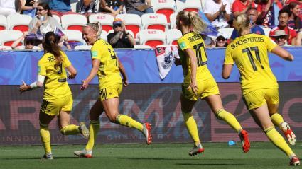 L\'équipde Suède termine troisième du Mondial, le 6 juillet 2019.