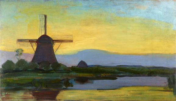 """Piet Mondrian, \""""Moulin dans le crépuscule\"""", vers 1907-1908"""