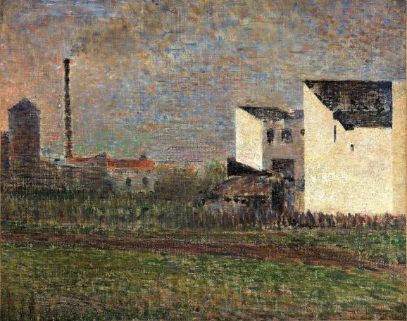 """Georges Seurat, \""""La Banlieue\"""", vers 1882, Donation Pierre et Denise Lévy, 1976 Troyes, musée d'Art moderne, collections nationales Pierre et Denise Lévy"""