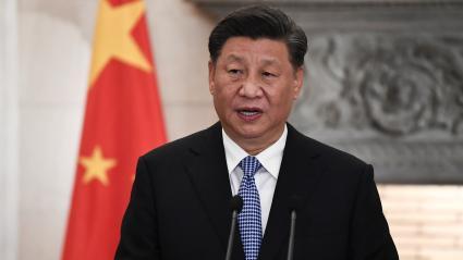 Le président chinois, Xi Jinping, s\'exprime lors d\'une conférence de presse, le 11 novembre 2019, à Athènes (Grèce).
