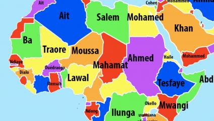 Extrait de la carte des noms de famille publiée sur Vividmaps en 2016 (https://www.vividmaps.com/2016/09/most-common-last-names-by-country.html).