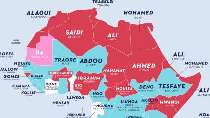 Extrait de la carte des patronymes dans le monde réalisée par le site (https://www.netcredit.com/blog/wp-content/uploads/2019/09/01_The-most-common-last-name-in-every-country_FullMap-2.png)