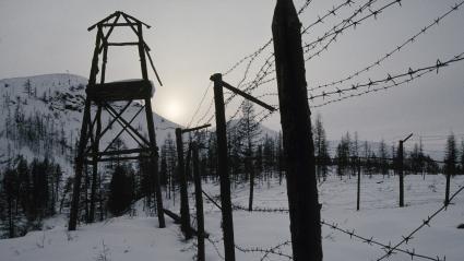 Les ruines d\'un goulag soviétique, à 30 km au sus de Topolinoie, dans les Monts deVerkhoiansk (Yakoutie, Sibérie orientale). Le sol y est pavé des ossements des prisonniers forçats, les zeks.
