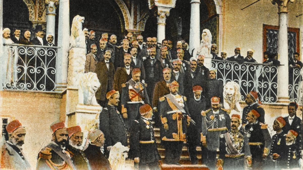 Le bey au Palais du Bardo à Tunis, dans les années 1910